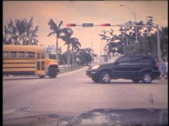 SUPER8 USA school bus at the crossroads Stock Footage