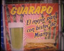 Stock Video Footage of SUPER8 USA Little Havana cuban add Guarapo bistec de Miami