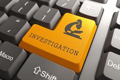 Keyboard with Investigation Orange Button. - stock illustration