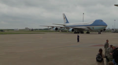 President Obama Arrives at Tinker AFB to View Tornado Damaged Area Stock Footage