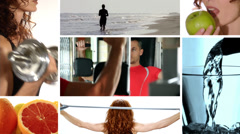 Fitness and healthy food Stock Footage