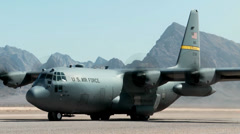 C-130 Hercules freight transporter and troop carrier - stock footage
