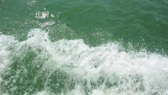 Water foam near the prow of the ship Stock Footage