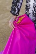 bullfighter with the cape before the bullfight, spain - stock photo