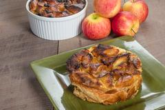 apple bread pudding with raisins - stock photo