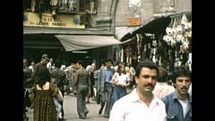 Istanbul 1980: people walking in a market Stock Footage