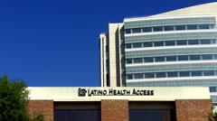Latino Health Access Logo On Building- Santa Ana CA Stock Footage