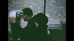 New York 1967: watching the skyline from the Empire State building terrace Stock Footage