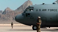 C-130 Hercules preparing for takeoff Stock Footage