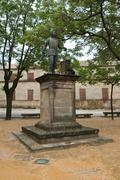 statue of andres de vandelvira, palace of the chains square vazquez of molina - stock photo