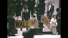 New York 1967: people walking in front of Wall Street Stock Footage