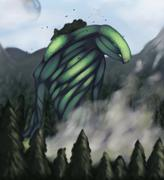 monster forest god - stock illustration