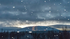 Dark foreboding winter landscape in a snowstorm Stock Footage