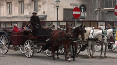 Horse cabs in Stephansplatz and St. Stephen's Cathedral - Vienna Stock Footage