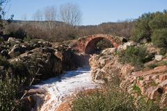 roman bridge piélago linares,Jaen province, andalusia, spain - stock photo