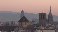 Barcelona - Catalonia - Spain - Skyline HD 1920 X 1080P Stock Footage