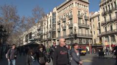 Barcelona - Catalonia - Spain - La Rambla street - HD 1920 X 1080P Stock Footage