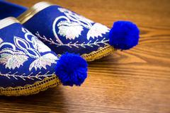 Oriental slippers embroidered Stock Photos
