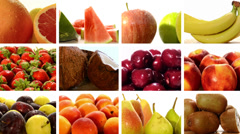 Diverse fruits collage Stock Footage