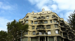 Spain Catalonia Barcelona Antoni Gaudi Casa Mila - stock footage