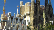 Stock Video Footage of Spain Catalonia Barcelona Antoni Gaudi Sagrada Familia Cathedral