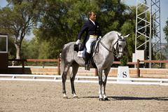Stock Photo of rider competing in dressage competition classic, spain