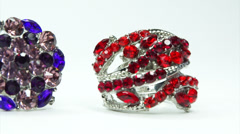 precious silvery rings jewelery with gem crystals - stock footage