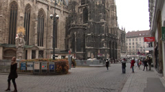 Gothic St. Stephens Cathedral in Vienna Stock Footage