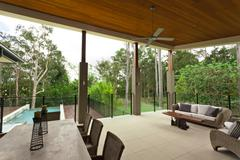 modern backyard - stock photo