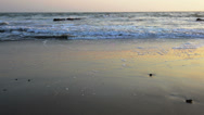 Stock Video Footage of calm evening surf at atlantic ocean coastline