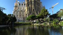 Spain Catalonia Barcelona Antoni Gaudi Sagrada Familia Cathedral - stock footage