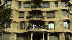 Spain Catalonia Barcelona Antoni Gaudi Casa Mila Stock Footage