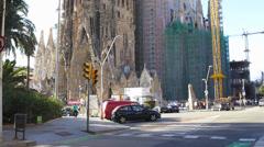 Spain Catalonia Barcelona Antoni Gaudi Sagrada Familia Cathedral - stock footage