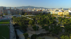 Spain Catalonia Barcelona Park Parc de Joan Miro from above Stock Footage