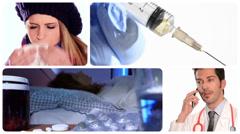 Flu and medicine Stock Footage