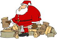 Stock Illustration of Santa splitting logs