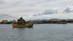 Uros floating island in Lake Titicaca, Peru Stock Footage