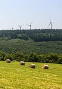Wind turbines in france Stock Photos