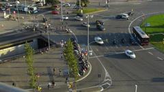Espanja Katalonia Barcelona Traffic Plaza Espanya neliön Arkistovideo