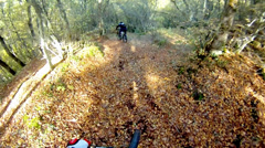 Extreme sport race, mount biker drive downhill deep in forest over autumn lea Stock Footage