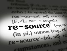 Dictionary - Resource - Black On White - stock photo