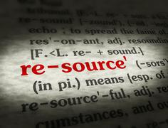 Dictionary - Resource - Red On BG - stock photo