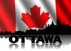 Ottawa horisonttiin ja teksti näkyy aallotettu kanadan lipun kuva Piirros