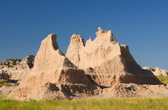 badlands formation in the summer heat - stock photo