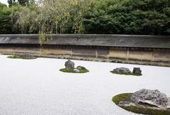 Famous zen garden of the ryoan-ji temple in kyoto Stock Photos