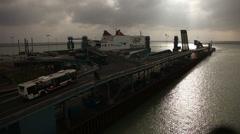 Port Trelleborg - Cars leave ferry 01 Stock Footage