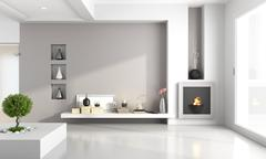 minimalist living room with fireplace - stock illustration