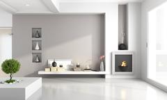 Minimalist living room with fireplace Stock Illustration