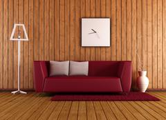 Wooden living room with red couch Stock Illustration