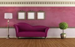 purple vintage room - stock illustration